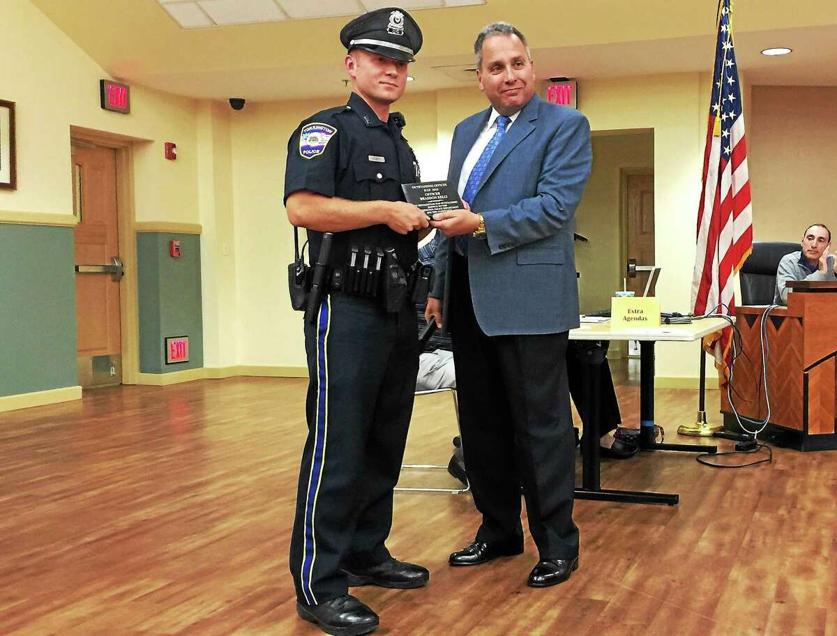 Officer Brandon Kelly was recognized as the Torrington Police Department Officer of the Month for July 2015 at the most recent meeting of the Board of Public Safety.