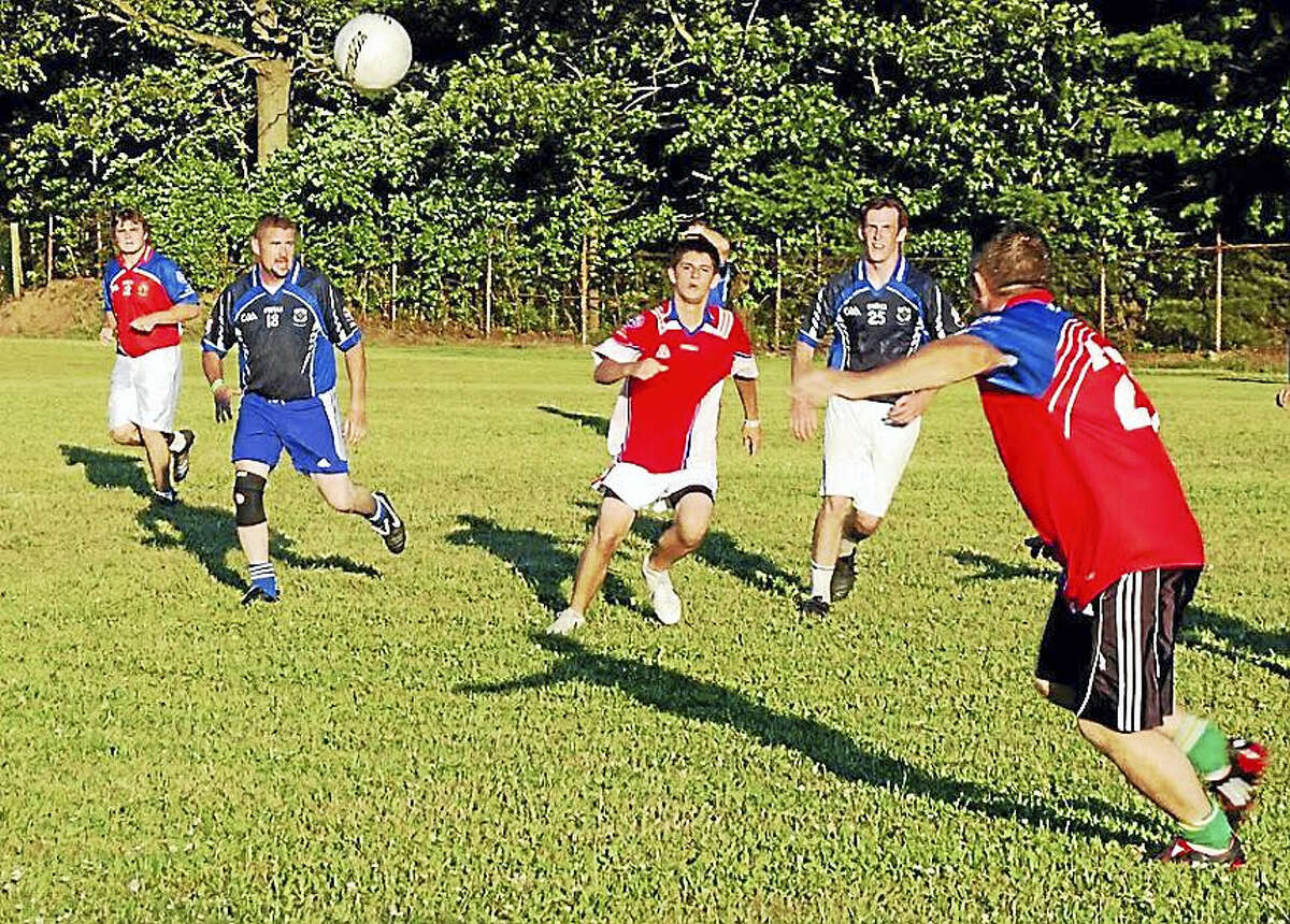 New York police vs. fire in a game of Gaelic football.