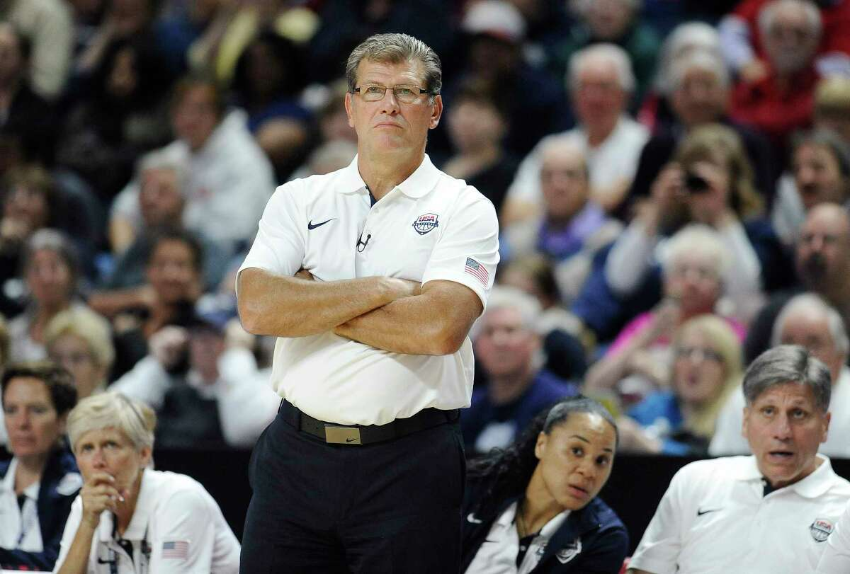 USA head coach Geno Auriemma watches play during an exhibition game last September.
