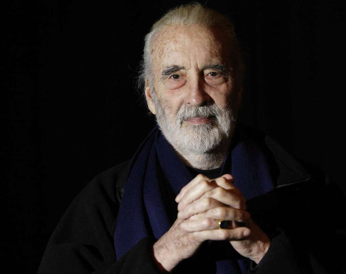 FILE- In this file photo dated Friday March 5, 2010, British actor Sir Christopher Lee is photographed before his interview with APTN, at the AP office in north London. Christopher Lee, the prolific, aristocratic British actor who brought dramatic gravitas to the low-budget thrills of Hammer Studios' 1950s and 1960s horror films and to the more recent