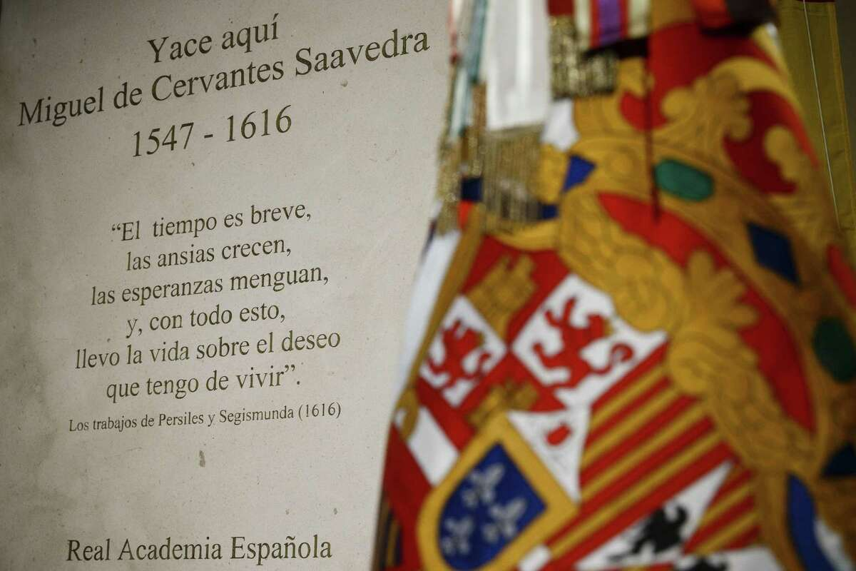 A detail view of the funeral monument holding bone remains believed to include those of Spanish writer Miguel de Cervantes in a Madrid convent, Spain, Thursday, June 11, 2015. Spain has given its greatest writer and author of Don Quixote, Miguel de Cervantes, formal burial some 400 hundred years after his death and after the bones were unearthed this year by experts after a near year-long search at the convent where Cervantes was known to have been buried in 1616. (AP Photo/Daniel Ochoa de Olza)