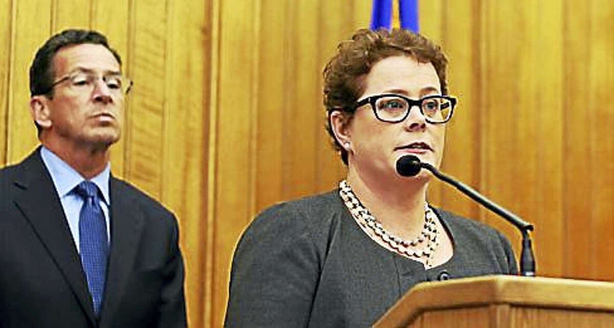 Insurance Commissioner Katharine Wade, front, and Gov. Dannel P. Malloy CTNEWSJUNKIE.COM FILE PHOTO