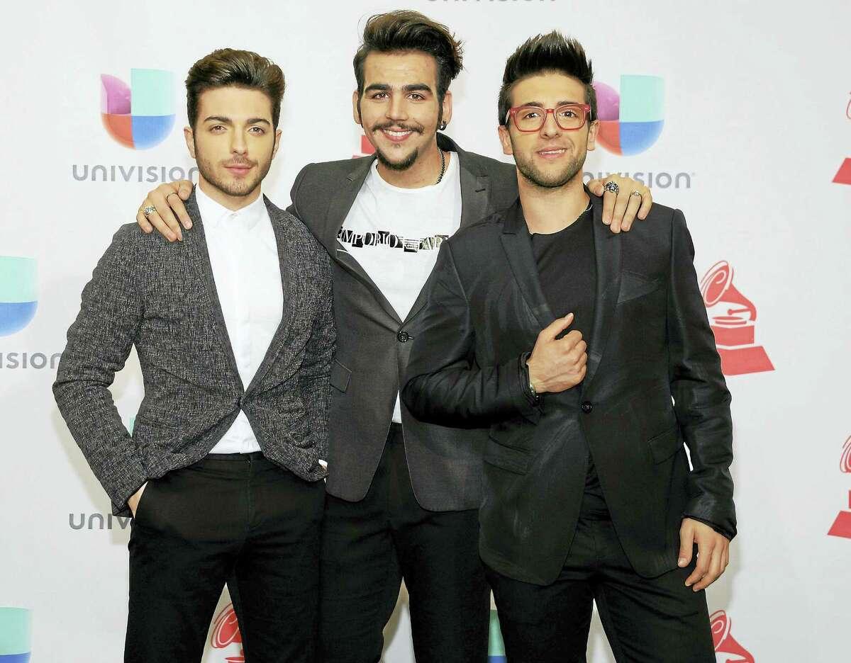 From left, Gianluca Ginoble, Ignazio Boschetto and Piero Barone of Il Volo, in the press room at the 16th annual Latin Grammy Awards in November in Las Vegas.