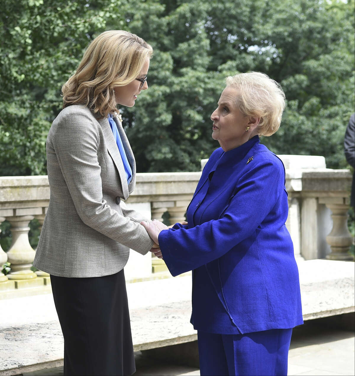 """In this image released by CBS, former Secretary of State Madeleine Albright, right, appears in a scene with actress Tea Leoni, who portrays U.S. Secretary of State Elizabeth McCord in an episode of """"Madam Secretary."""" Albright, 78, took a break from teaching duties at Georgetown University to film a guest shot on the show, airing Sunday, Oct. 11, 2015, at 8 p.m. EDT on CBS."""