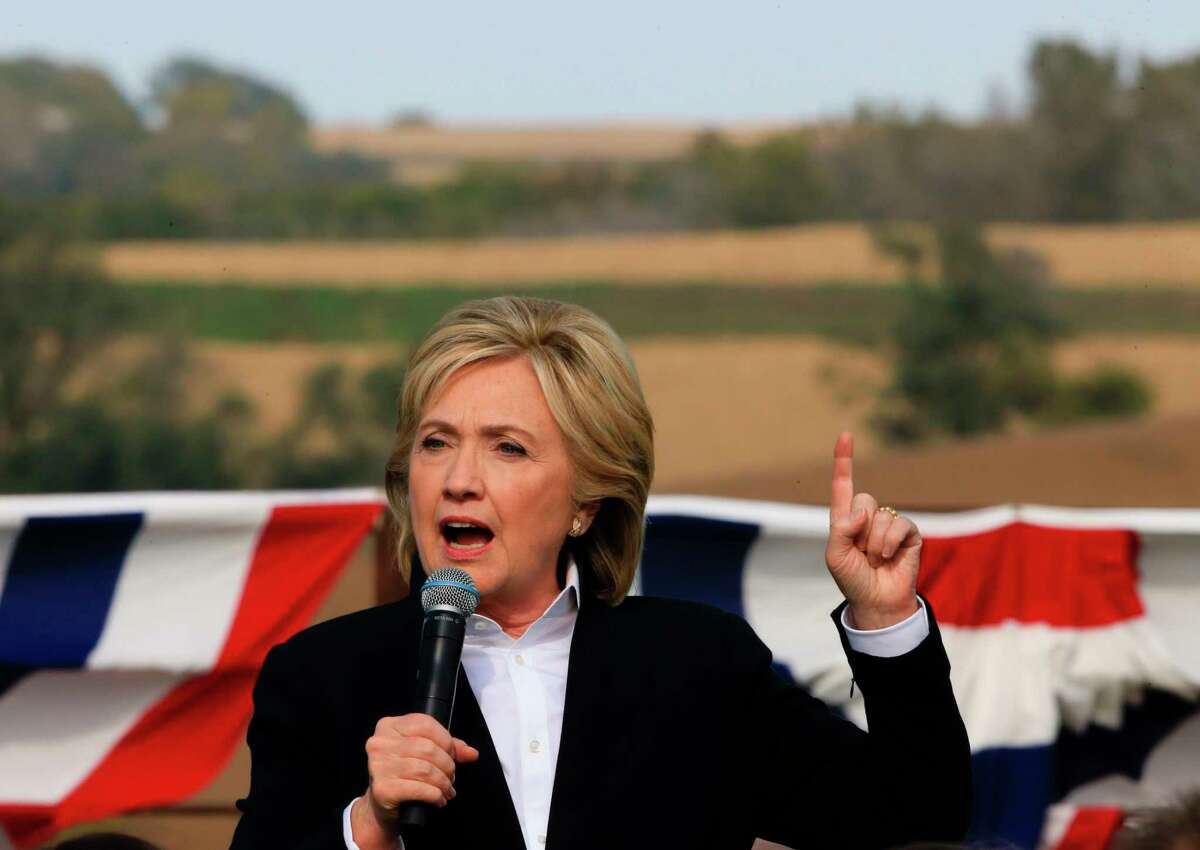 Democratic presidential candidate Hillary Rodham Clinton speaks Wednesday, Oct. 7, 2015, during a campaign stop at the Westfair Amphitheater in Council Bluffs, Iowa.