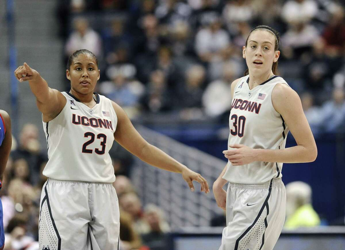 Kaleena Mosqueda-Lewis, left, Breanna Stewart and the second-ranked UConn women's basketball team will host No. 1 South Carolina tonight at Gampel Pavilion.