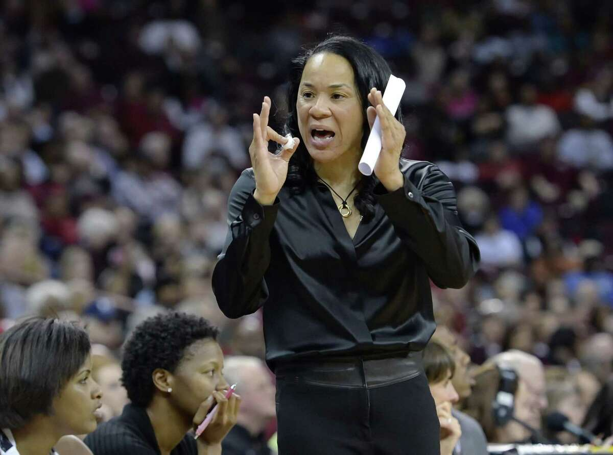 South Carolina coach Dawn Staley reacts to a play during a recent game.