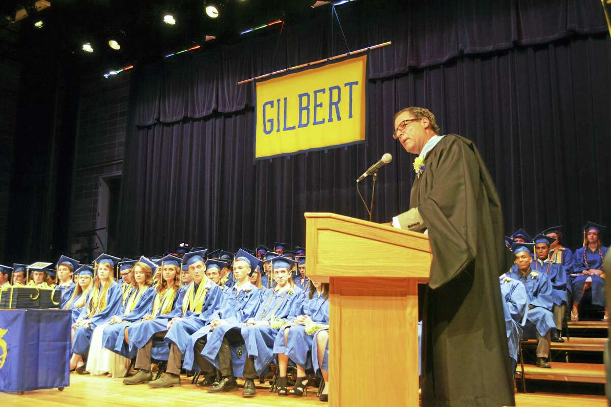 """BEN LAMBERT — THE REGISTER CITIZEN Gilbert School Principal Alan Strauss says """"there's no place I'd rather be."""""""