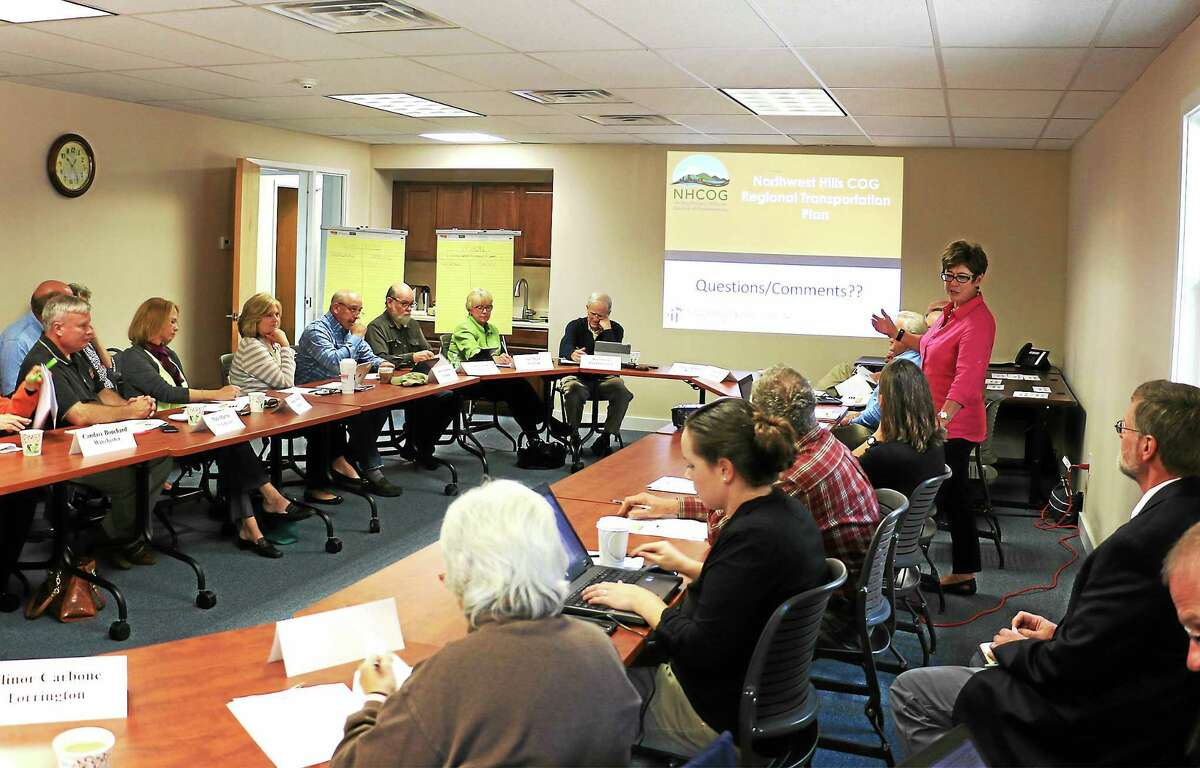 Ruth Fitzgerald of Fitzgerald and Halliday talks about Regional transportation with members of the Northwest Hills Council of Governments.
