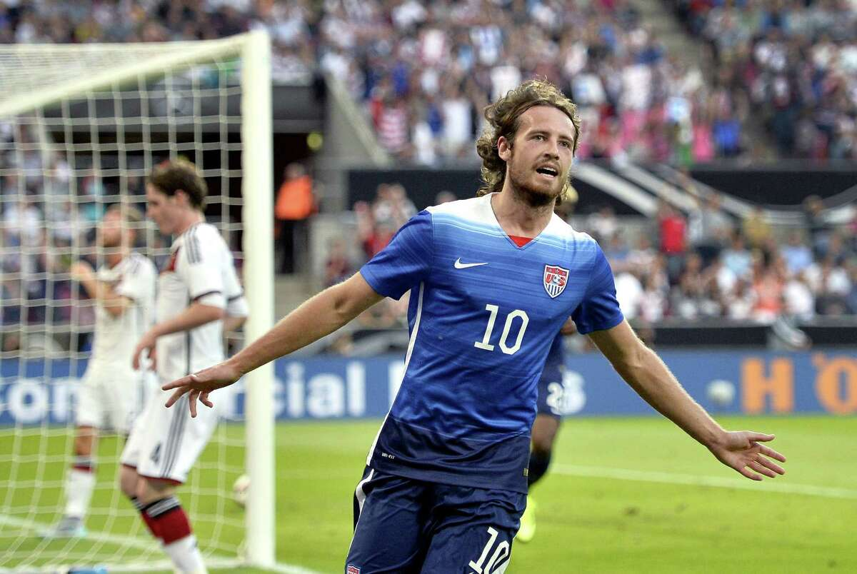 The United States' Mix Diskerud celebrates after scoring his side's first goal during a friendly against Germany on Wednesday in Cologne, Germany.