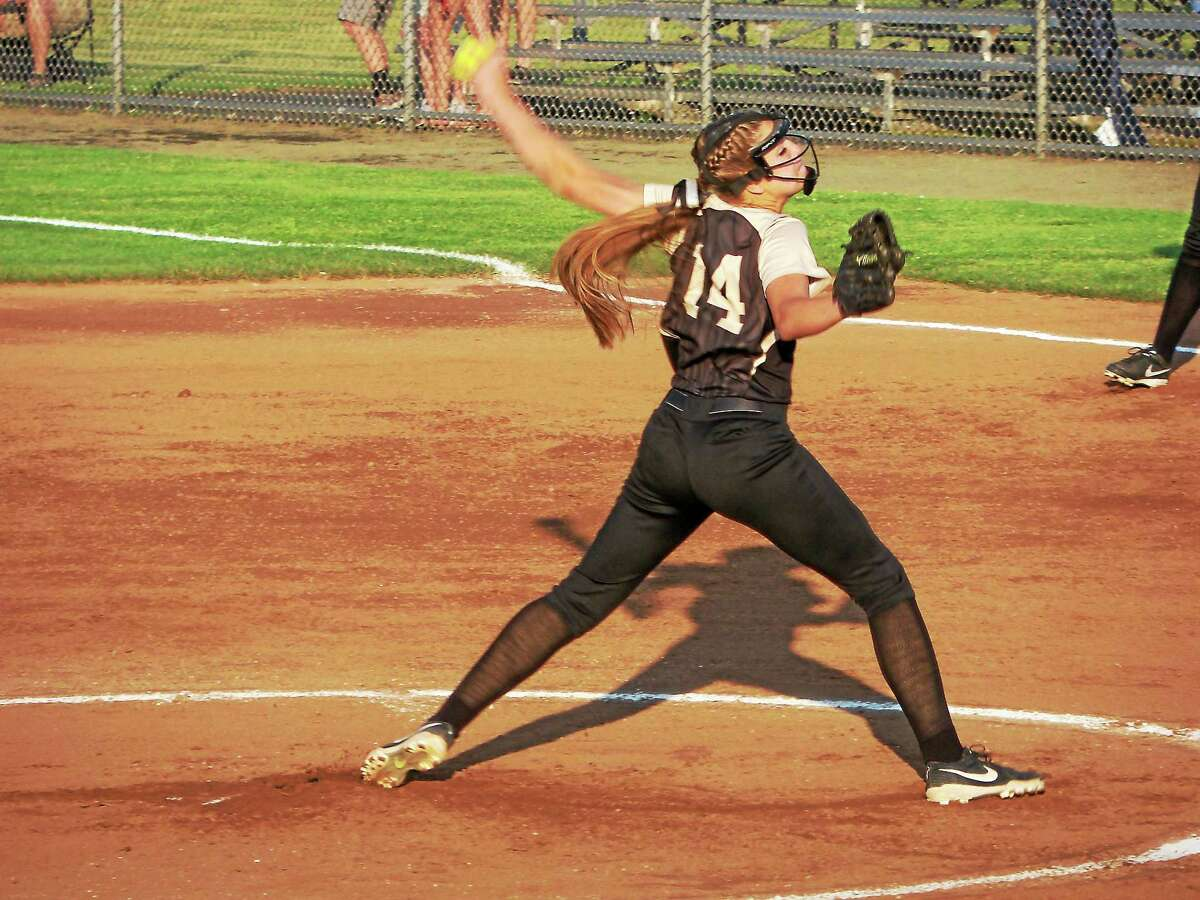 Thomaston pitcher Morgan Sanson started slow, then limited Hale-Ray to five hits in the Golden Bear semifinal win Wednesday evening at West Haven High School.