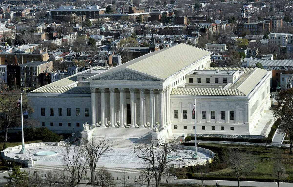 A view of the Supreme Court from near the top of the Capitol Dome on Capitol Hill in Washington.
