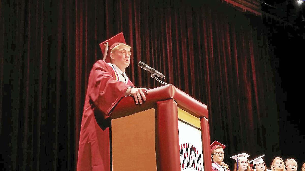 Class president Connor Finn addresses his classmates.