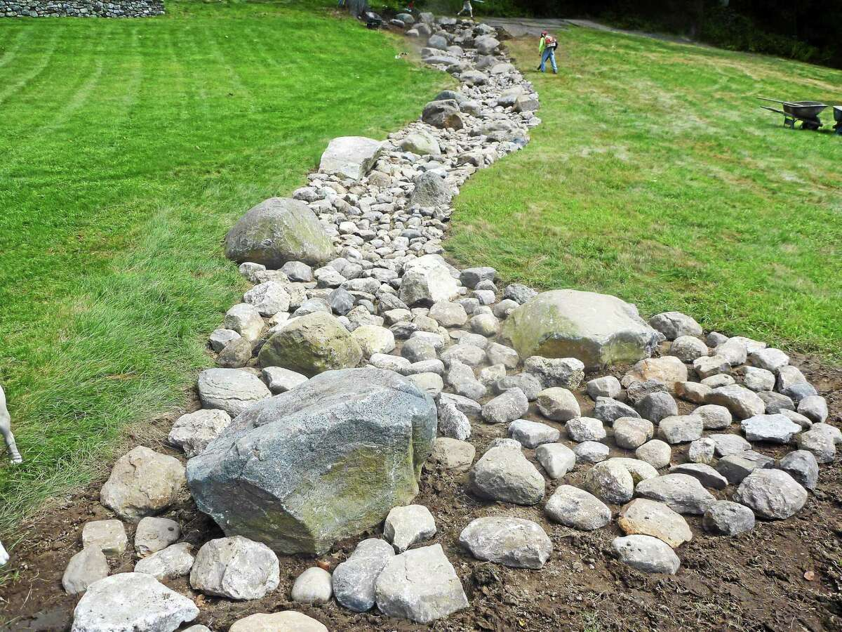 The base established prior to planting for an erosion restoration project.
