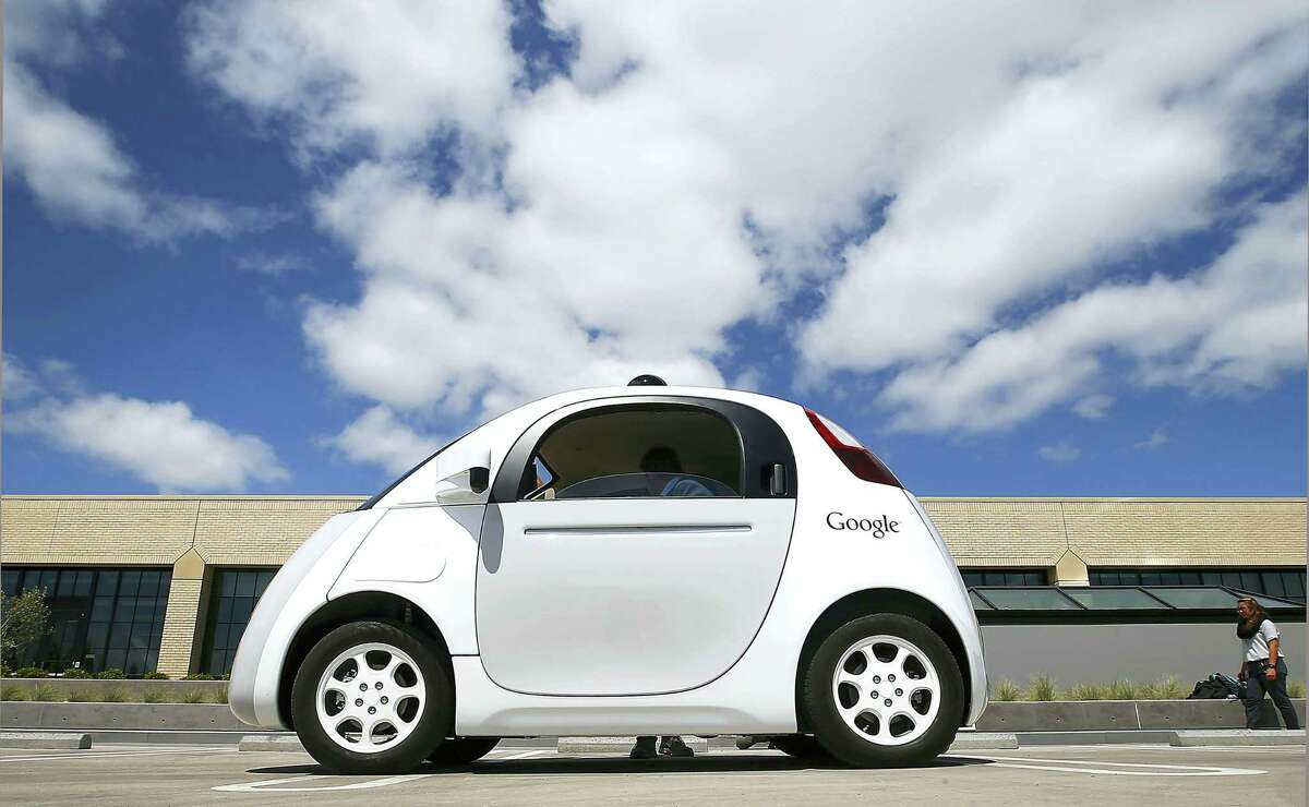 This May 13, 2015 photo shows Google's new self-driving car during a demonstration at the Google campus in Mountain View, Calif.