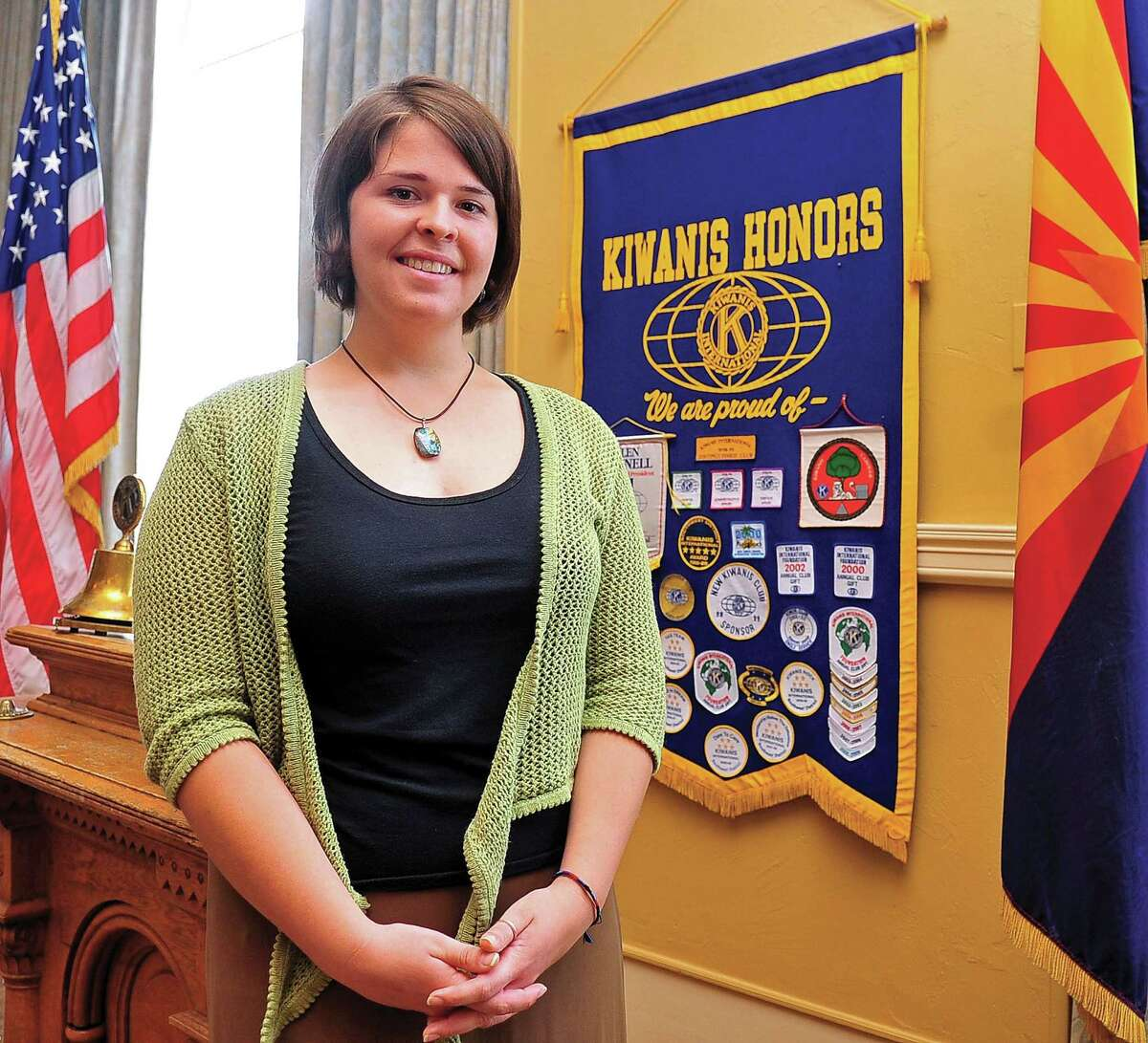 In this May 30, 2013, photo, Kayla Mueller is shown after speaking to a group in Prescott, Ariz. A statement that appeared on a militant website commonly used by the Islamic State group claimed that Mueller was killed in a Jordanian airstrike on Friday, Feb. 6, 2015, on the outskirts of the northern Syrian city of Raqqa, the militant group's main stronghold. The IS statement could not be independently verified. (AP Photo/The Daily Courier, Matt Hinshaw) MANDATORY CREDIT