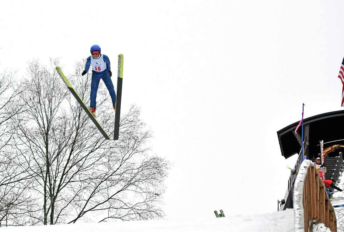 Competitor Matt White jumps in the U.S. Eastern Ski Jumping Championships during a prior Jumpfest event. T