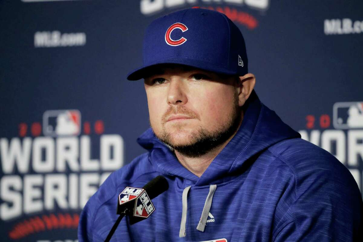 Cubs starting pitcher Jon Lester talks during a news conference on Monday.