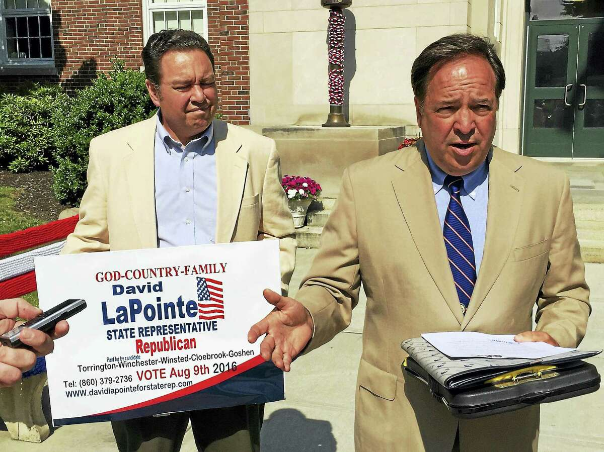 Ben Lambert - The Register CitizenDavid LaPointe, a Winchester resident, announced his candidacy for the Republican nomination to represent the 63rd district in the state House of Representatives Monday, citing the need for