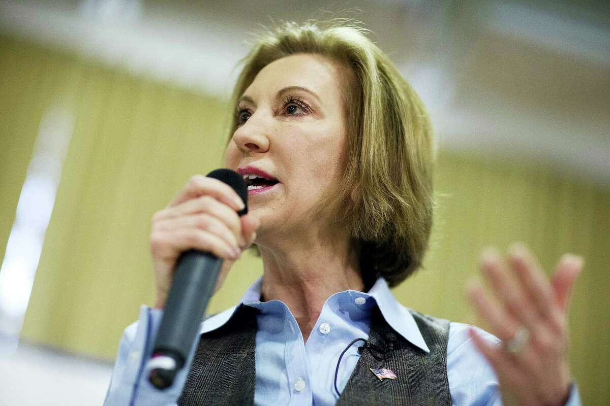 In this Feb. 6, 2016, file photo, Republican presidential candidate Carly Fiorina speaks at a campaign event in Goffstown, N.H., Fiorina exited the 2016 Republican presidential race Wednesday,Feb. 10, 2016, after winning praise for her debate prowess, but struggling to build a winning coalition in a crowded GOP field.
