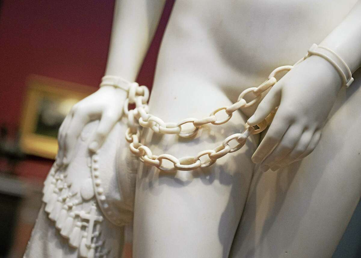 Detail of Hiram Powers marble sculpture