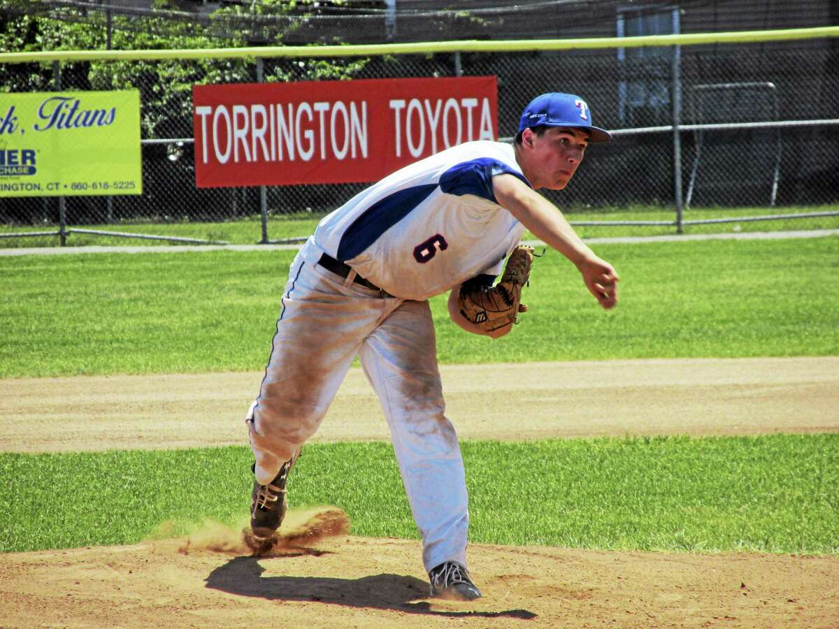 Photo by Peter WallaceTorrington P38 pitcher Clay Langer struck out 14 and allowed just five hits in an American Legion loss to Unionville Sunday afternoon at Fuessenich Park.