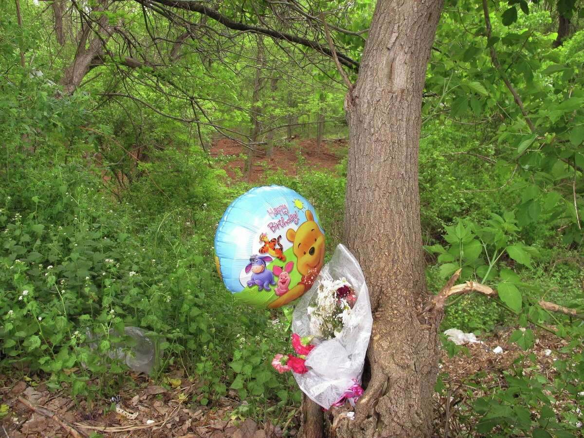 A happy birthday balloon and flowers left for one of seven victims of a suspected serial killer are tied to a tree in New Britain, Conn., on May 12, 2015. A clearing in the woods seen just above the balloon is one area of the woods where the remains of the seven victims were found in 2007 and last month.