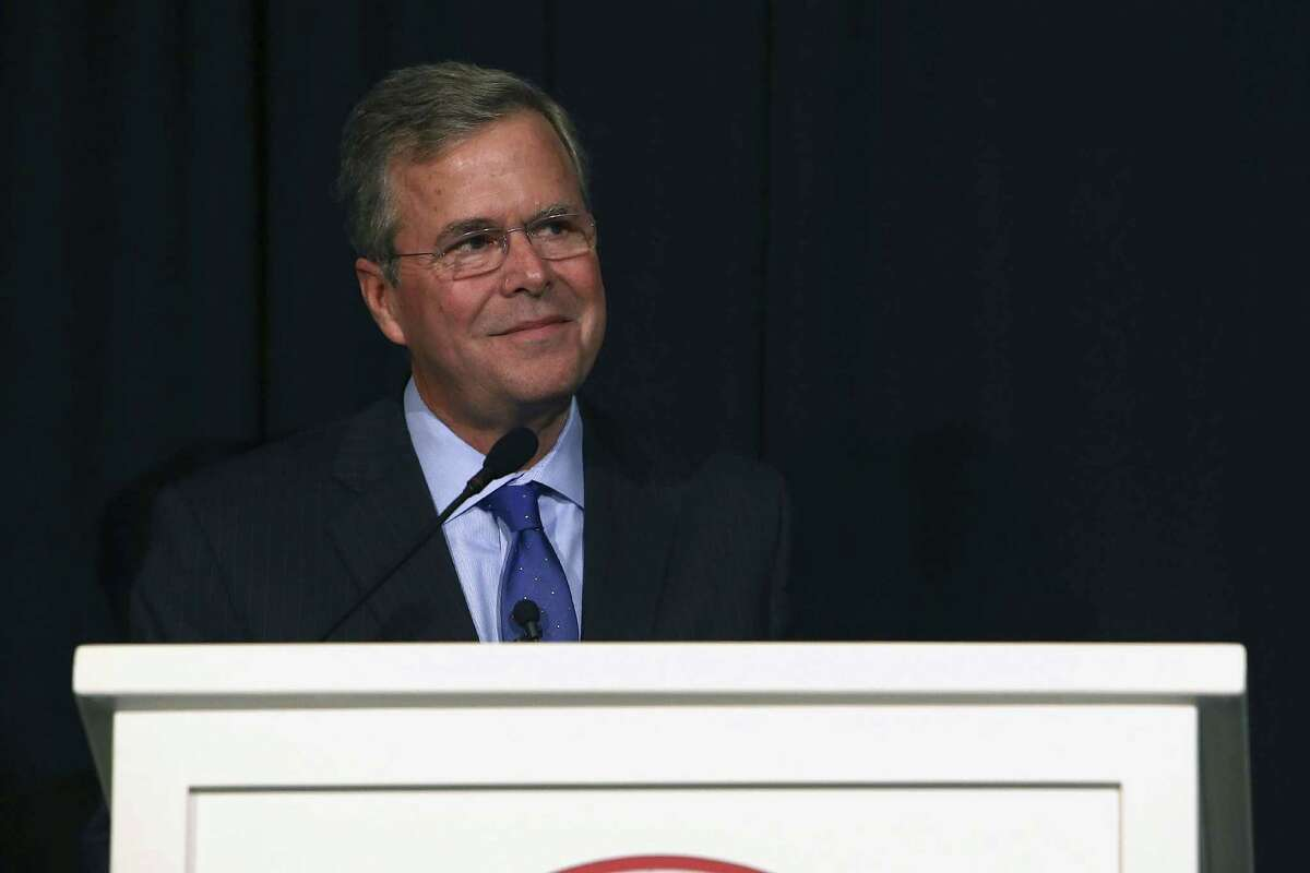 Likely Republican presidential candidate Florida Gov. Jeb Bush, gives a keynote speech during the Clinton County Republican Party and Ingham County Republican Party joint Lincoln Day Dinner in Bath, Mich. on May 28, 2015.