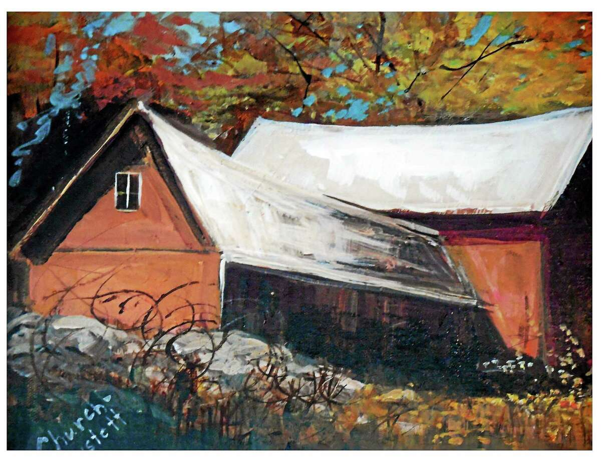 Contributed photo Paintings by Corki Anstett are on display at the Artists Path Gallery in Bantam.