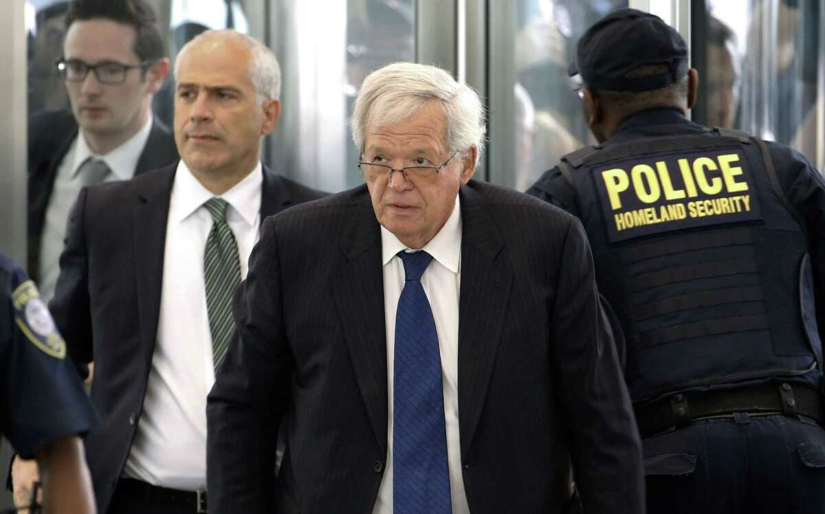 Former House Speaker Dennis Hastert arrives at the federal courthouse Tuesday, June 9, 2015, in Chicago for his arraignment on federal charges that he broke federal banking laws and lied about the money when questioned by the FBI. The indictment two weeks ago alleged Hastert agreed to pay $3.5 million to someone from his days as a high school teacher not to reveal a secret about past misconduct. (AP Photo/Charles Rex Arbogast)