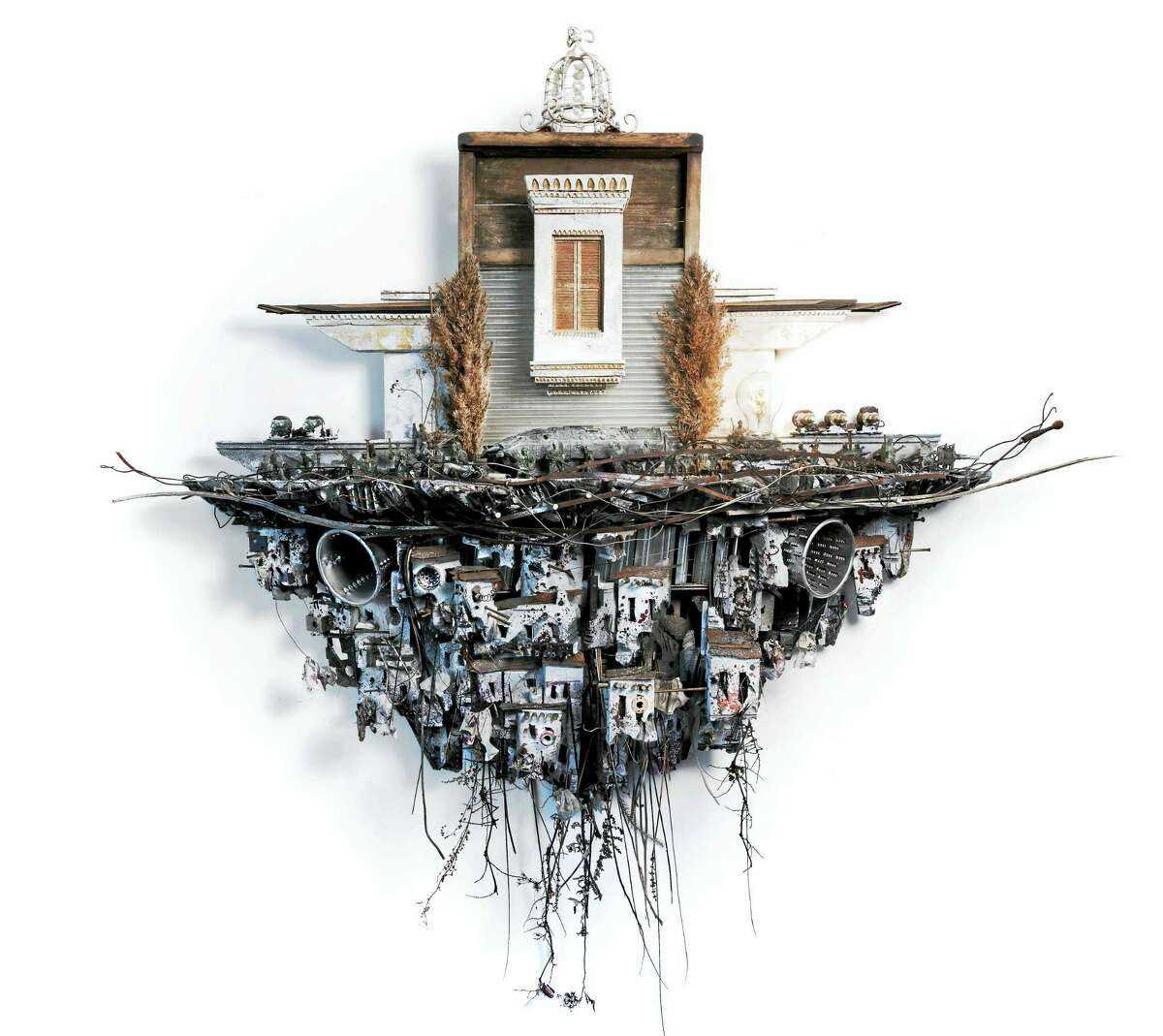 """""""His Royal Highness II,"""" a 2015 sculpture made of plaster, paint, rusted metal and other found objects by Syrian-American artist Mohamad Hafez."""
