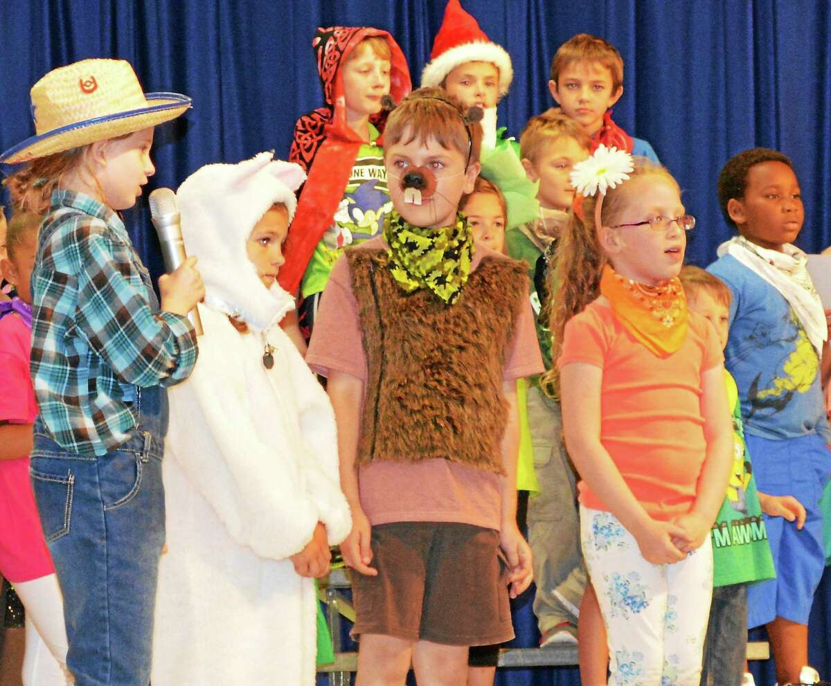 Second-grade students at Forbes School perform on Tuesday in their annual school play.