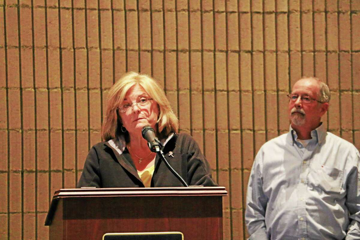 Roxbury First Selectwoman Barbara Henry speaks at the Region 12 Agriscience STEM public hearing Monday night.