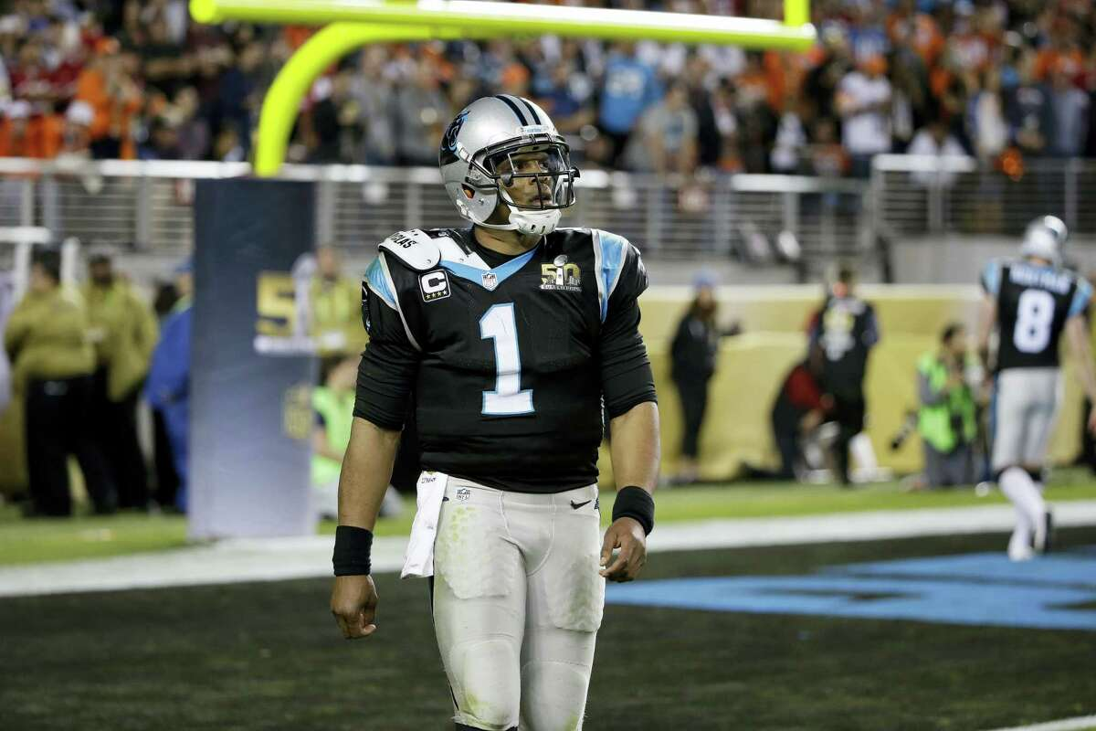 Carolina Panthers' Cam Newton (1) leaves the field during the second half of the NFL Super Bowl 50 football game against the Denver Broncos, Sunday, Feb. 7, 2016, in Santa Clara, Calif. (AP Photo/Marcio Jose Sanchez)
