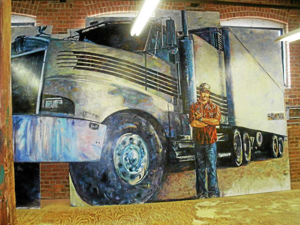 A truck driver segment of the American Mural Project in Winsted.