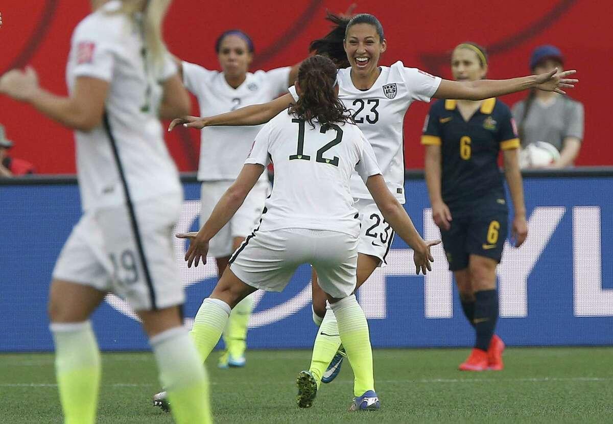 The United States' Christen Press (23) celebrates her goal against Australia on Monday.