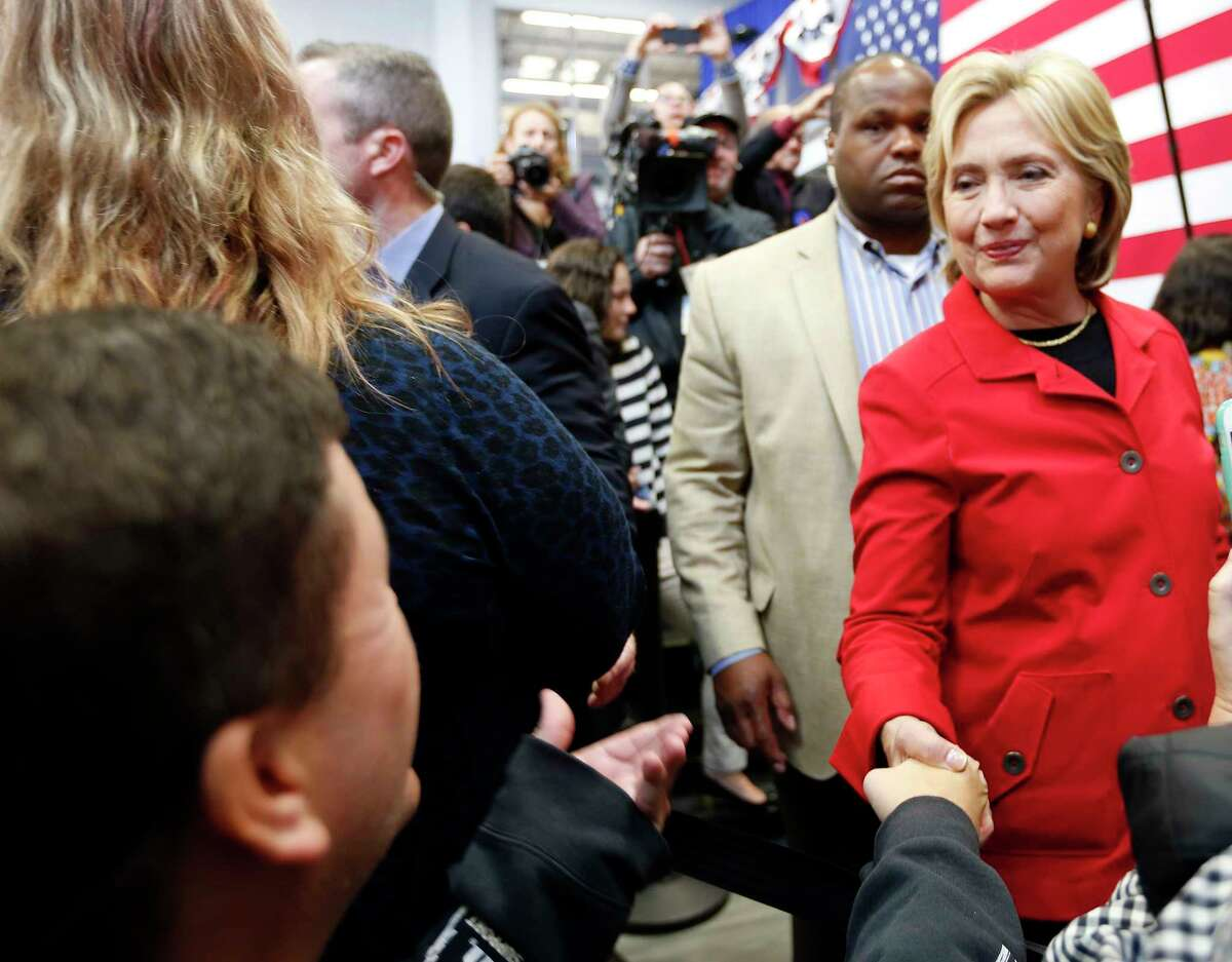 Democratic presidential candidate Hillary Rodham Clinton greets voters during a campaign stop at the Manchester Community College on Oct. 5, 2015 in Manchester, N.H.