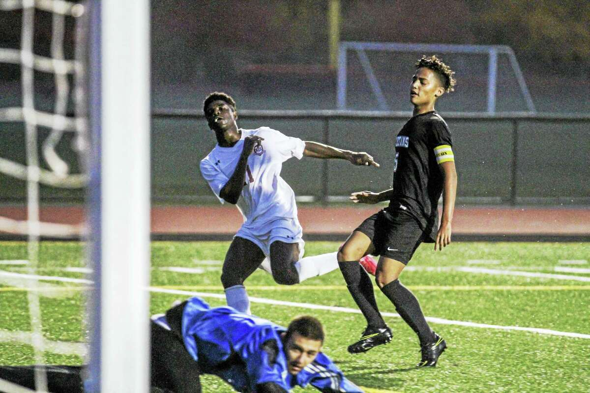 Naseem Thompson (11) scored twice in the first 12 minutes in Torrington's win over Waterbury Career Academy Friday night at the Robert H. Frost Sports Complex.