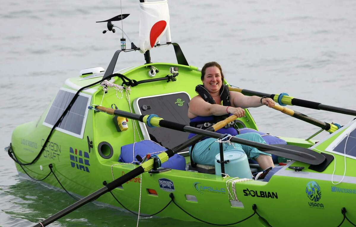 American rower Sonya Baumstein, from Orlando, Fla., rows a boat as she leaves Choshi Marina in Choshi, a port east of Tokyo, headed for San Francisco on June 7, 2015. Baumstein hopes to finish the 9,600-kilometer (6,000-mile) journey by late September and become the first woman to row solo across the Pacific in the 23-foot (7-meter) -long vessel.