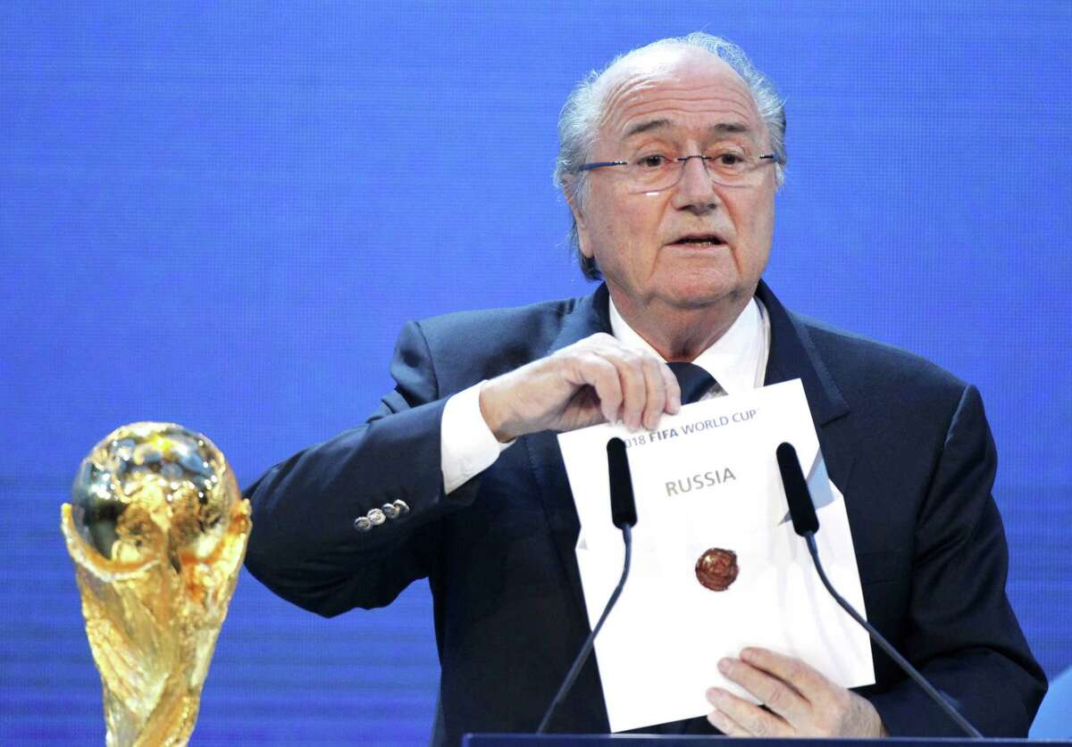 In this Thursday, Dec. 2, 2010 photo, FIFA President Sepp Blatter announces Russia to host the 2018 World Cup during the announcement of the host country for the 2018 soccer World Cup in Zurich, Switzerland.
