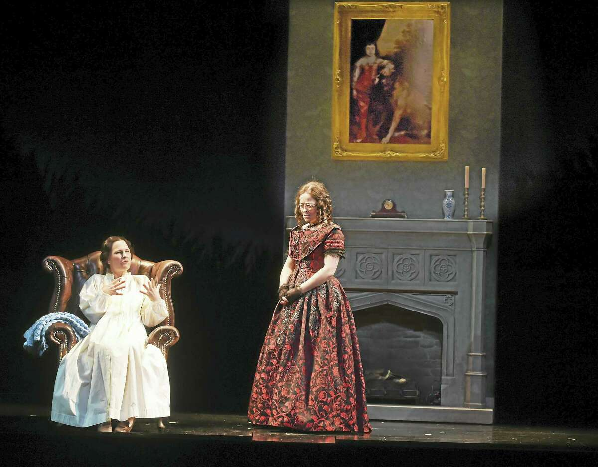 Kelly McAndrew, left, and Birgit Huppuch play spinster sisters during a Yale Repertory Theatre rehearsal for The Moors last month.