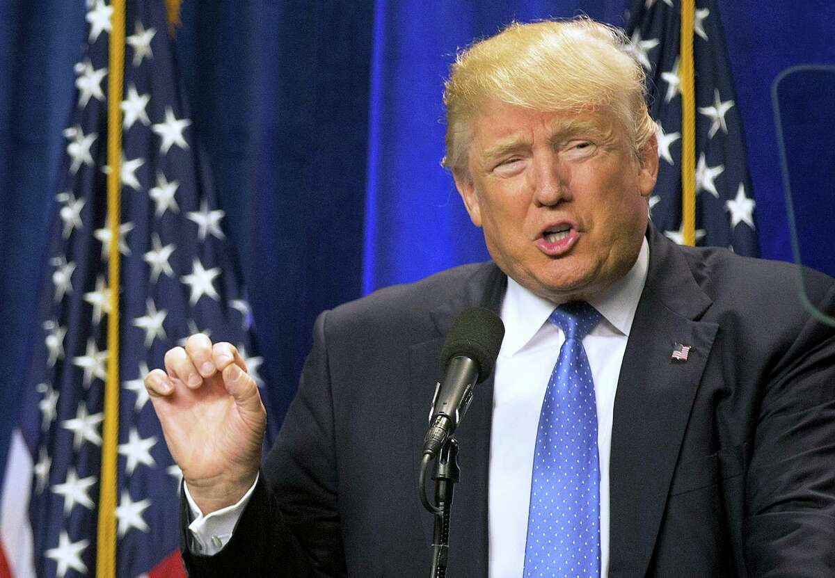 Republican presidential candidate Donald Trump speaks at Saint Anselm College Monday in Manchester, New Hampshire.