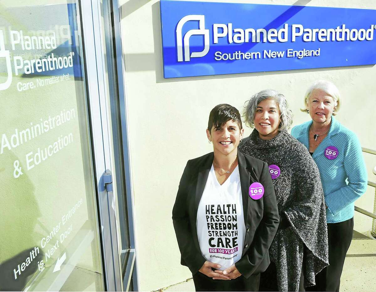 Planned Parenthood of Southern New England executives Gretchen Raffa, director of public policy, advocacy and strategic engagement, left, Pierrette Comulada Silverman, vice president of education and training, center, and Judy Tabar, president and CEO, at the Planned Parenthood office in New Haven.