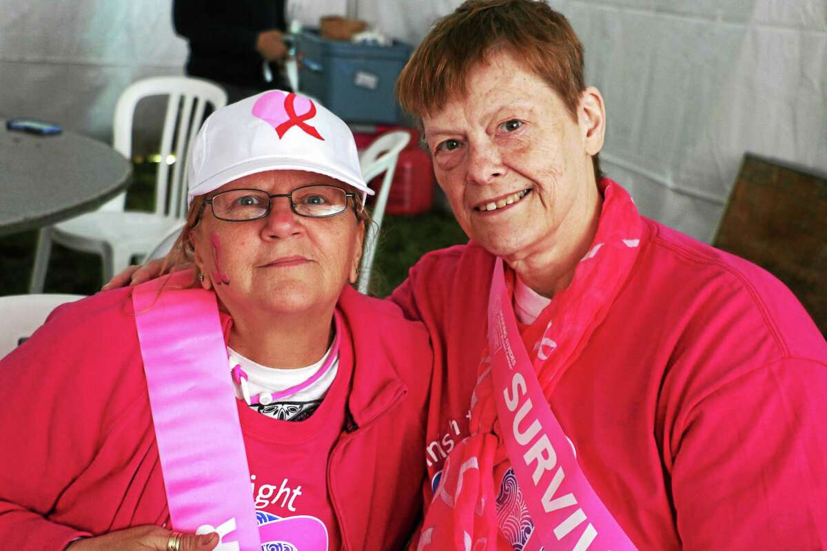 Susan Pelletier of Thomaston and Debbie Hanny of Torrington, two of the breast cancer survivors who participated in the Making Strides Against Breast Cancer of Litchfield. Pelletier is a three-year survivor and Hanny was diagnosed in 2002. Sadly Hanny did lose her husband to cancer.