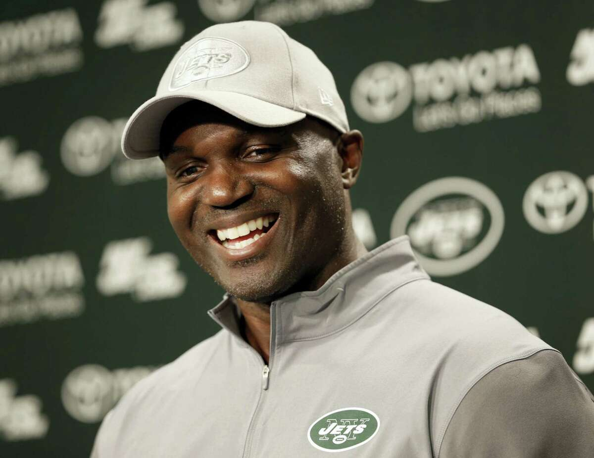 Jets coach Todd Bowles speaks to reporters after a recent practice.
