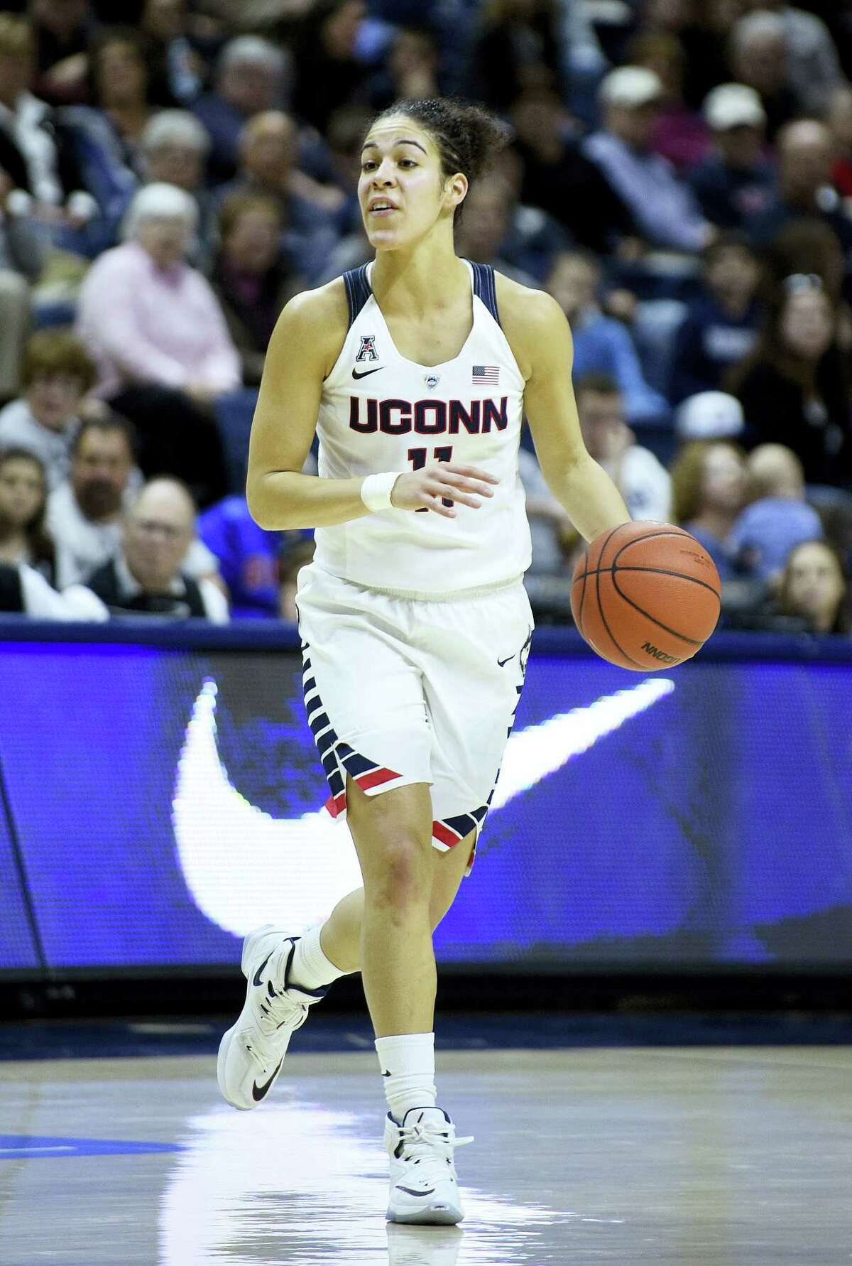 UConn's Kia Nurse dribbles during the second half Saturday's game in Storrs.