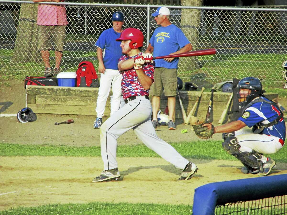 Photo by Peter WallaceWinsted American Legion's Vinnie Tranceti batted in one run and scored the other in Winsted's 2-0 win over Torrington's P38s Thursday evening at Walker Field.