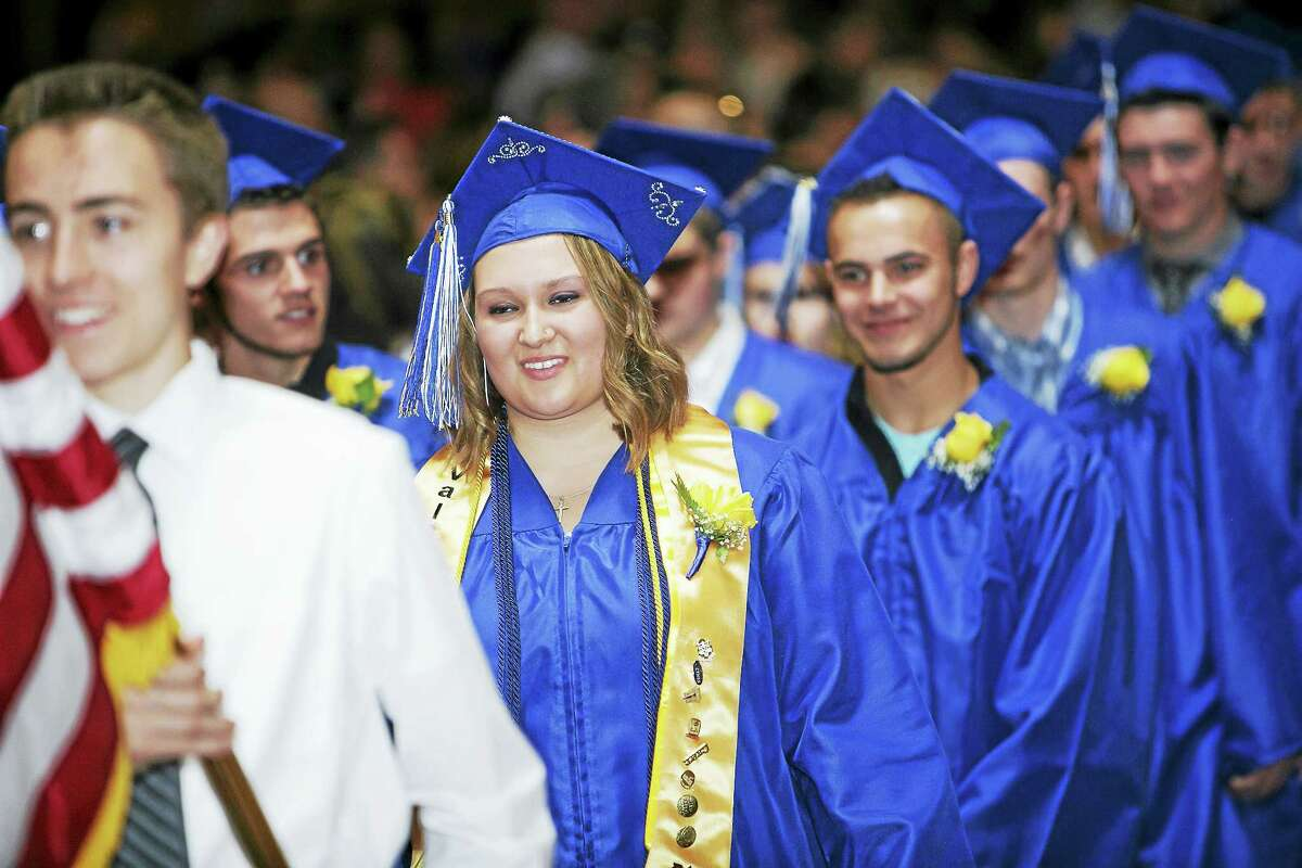 OWTS Valedictorian Taylor Wheeler leads the procession at the Warner Theatre.