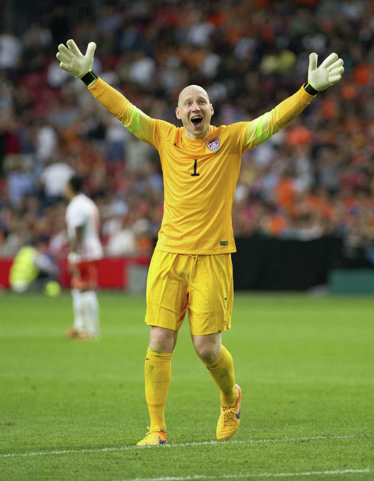 USA goalkeeper Brad Guzan celebrates the Americans' victory over the Netherlands in an international friendly Friday at ArenA Stadium in Amsterdam.