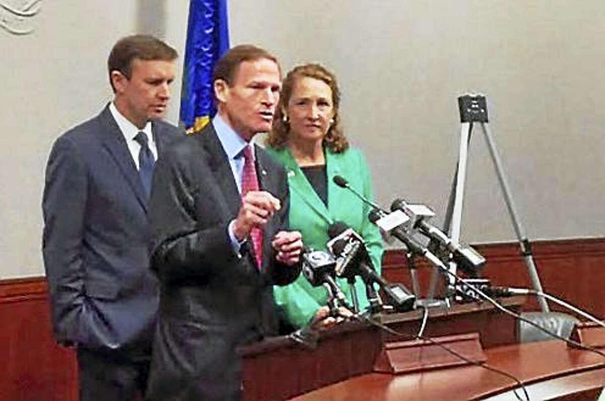 U.S. Sens. Richard Blumenthal and Chris Murphy, both D-Conn., with Connecticut U.S. Rep. Elizabeth Esty, D-5.